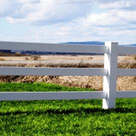 3 Rail White Vinyl Horse Fence