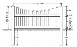Drawing Of Scalloped Melrose Vinyl Picket Fence