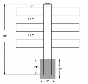 Install Drawing For 3 Rail Vinyl Fence