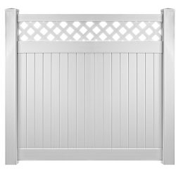 White Vinyl Fence Panel with Lattice