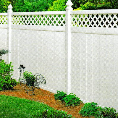White Vinyl Privacy with Lattice