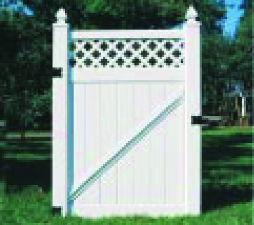 White Vinyl With Lattice Walk Gate