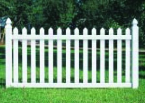 Melrose White Vinyl Picket Fence